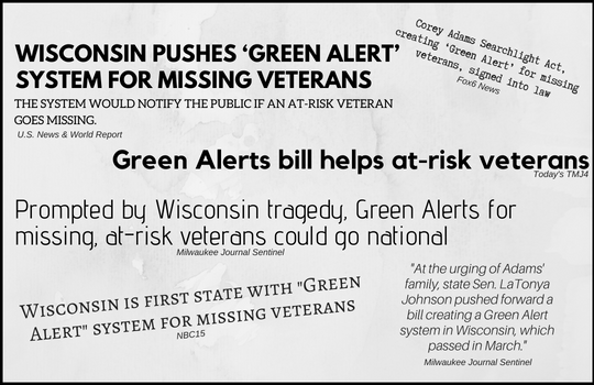 Corey Adams Searchlight Act, creating 'Green Alert' for missing veterans, signed into lawheading.png
